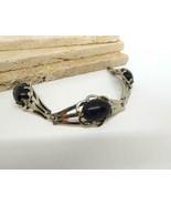 Vintage Dark Blue Shimmer Glass Silver Tone Panel Link Bracelet EE44 - $15.83