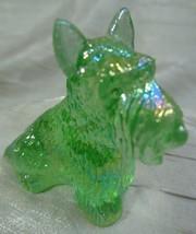 Duke Scottie Scottish Terrier Dog Aloe Carnival Glass Figurine  7-8-2004 - $15.88