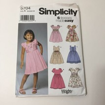 Simplicity 5704 Size 3-8 Girls' Dress with Sleeve and Bodice Variations - $11.64