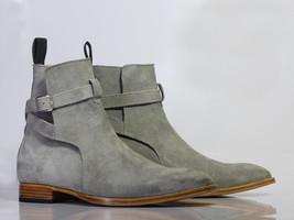 Handmade Men's Gray Suede High Ankle Monkstrap Jodhpurs Boots image 5