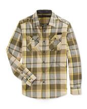 New Mens S EAN John Long Sleeve Epaulet Pocket Plaid Button Front Shirt $69 - $29.99
