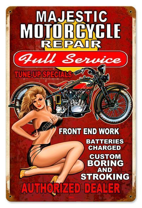 Majestic Motorcycle Repair  Metal Sign