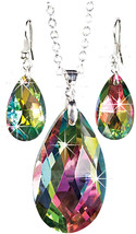 The Paragon Rainbow Teardrop Jewelry Set - Faceted Aurora Borealis Neckl... - $36.87
