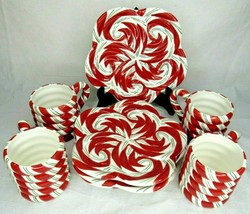 Candy Cane Cookie Plates Cups Holiday Christmas Elegance Ceramic Serving... - $59.39