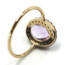 18K ROSE GOLD FLOWER RING PURPLE CUSHION OVAL CRYSTAL, CUBIC ZIRCONIA FRAME image 3