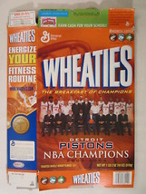 MT WHEATIES Cereal Box 2004 18oz DETROIT PISTONS NBA Champions 2003-04 [... - $16.32