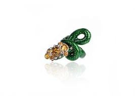 Roberto Cavalli Womens Green Gold Swarovski Serpent Ring Size 16~RTL$822 - $280.25