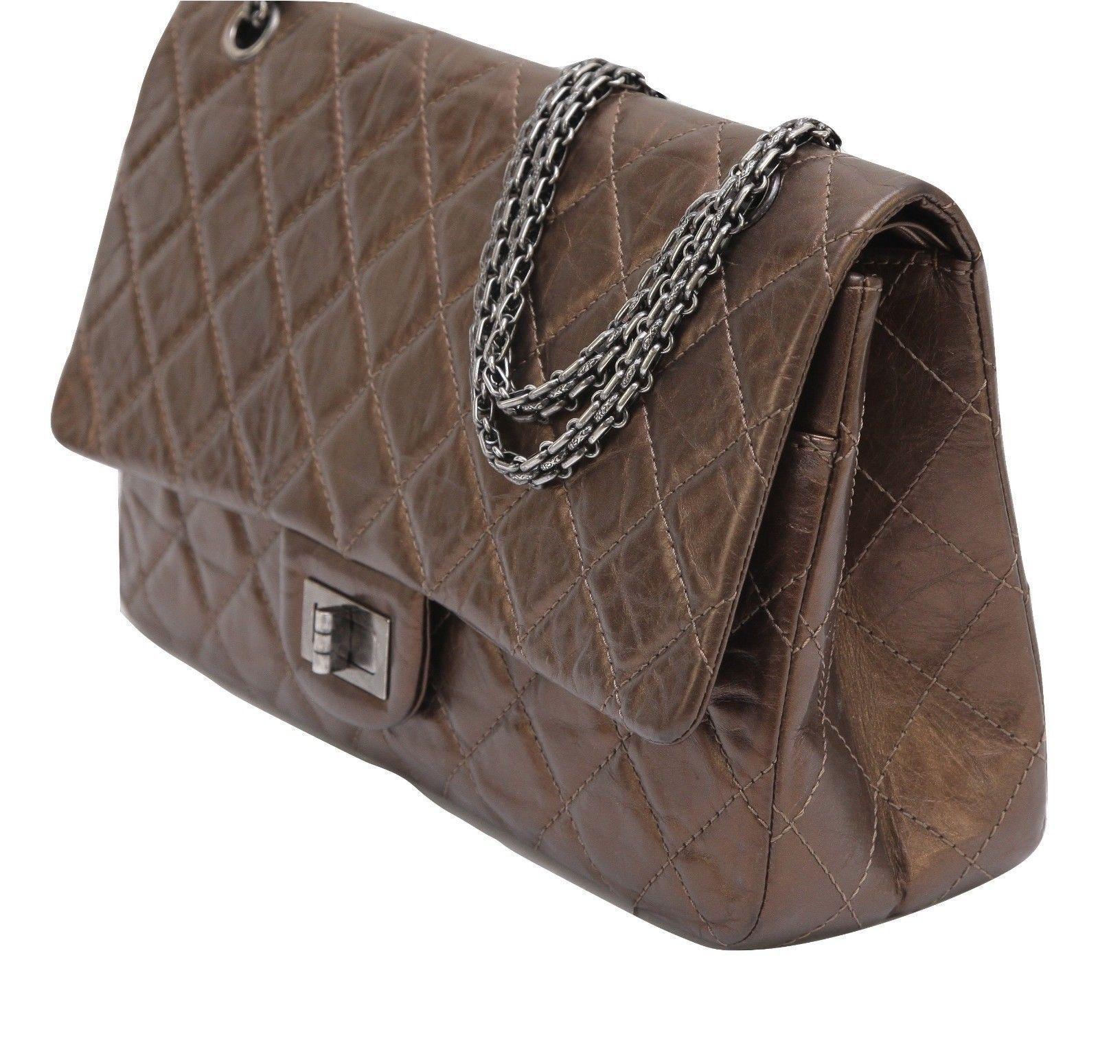 3caf4b2f0a37 CHANEL Bag Metallic Leather 2.55 Reissue 227 Bronze Flap Shoulder Ruthenium  HW