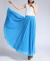 Women Long MAXI Chiffon Skirt AQUA-BLUE Chiffon Maxi Skirt Summer Wedding Skirt image 5