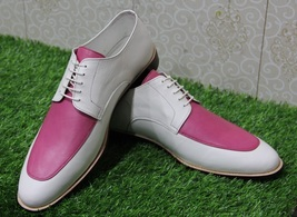 Handmade Men's Pink And White Leather Dress/Formal Oxford Shoes image 3