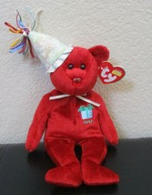 Ty Beanie Baby July Birthday Bear With Hat 2002  - $12.86