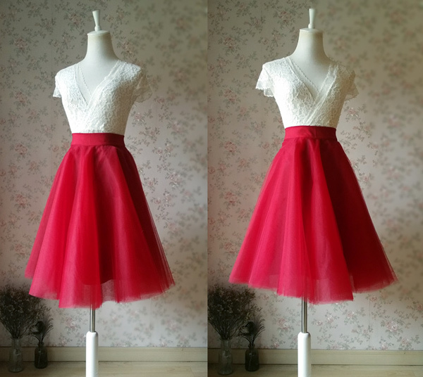 RED High Waisted Tulle Skirt Knee Length Midi Circle Skirt Red Party Skirt NWT