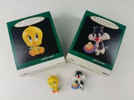 2 Looney Tunes Hallmark Keepsake Miniature Ornaments Tweety & Baby Sylve... - $8.86