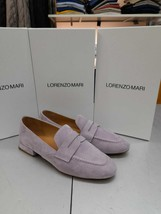 Moccasin Lorenzo mari Genuine Leather Satin Blu Or Suede Lavanda. Heel 3 CM - $177.84