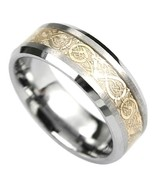 Beautiful Tungsten Ring with Elegant Gold Center Design  Size 10.25 - $89.09