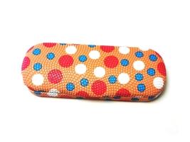 Orange Polka Dots Small Hard Sunglasses / Eyeglasses Case - $8.95