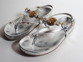 TORY BURCH Thong Silver womens used Leather Sandals gold logo Size 7.5 - €41,10 EUR