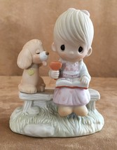 loving is sharing child and dog Precious Moments figurine boy 1979 ice c... - $18.50