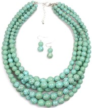 Shineland Elegant 5-Layered Strands Crack Turquoise Stone-simulated Pear... - $36.55
