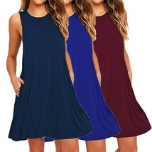 2018 New Fashion Women Stitching Sleeveless Mini Dress Women's Loose Poc... - $25.50