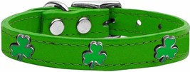 Mirage Pet Products Shamrock Widget Genuine Leather Dog Collar Emerald G... - $14.84