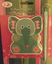 ELEPHANT shaped MEMO PAD with PEN 50 pages Blue NEW - $6.99
