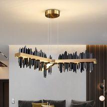 New Black/Gold Chandelier with Remote Control Iceberg Design LED Hanging... - $849.00