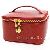 CHANEL Vanity Bag Caviar Leather Red A07058 CC Logo Italy Authentic 5509546 - $922.71