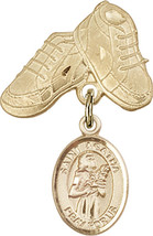 14K Gold Filled Baby Badge with St. Agatha Charm and Baby Boots Pin 1 X 5/8 inch - $102.90