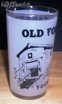 1960'S Retro Hazel ATLAS--FROSTED Souvenir Glass Old Fort Niagara, Youngstown Ny - $14.95