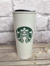 Starbucks Classic Logo White Ceramic Tumbler With Lid 16 Oz. EUC - $14.01