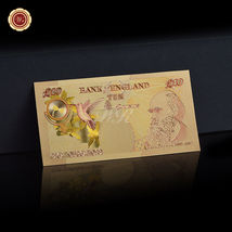 WR Set of Color Gold UK Banknotes 5 Pound - 50 Pounds British Polymer Note Gifts image 9