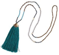 KELITCH Synthetic Turquoise Crystal Beads Strand Necklace Tassel Layerin... - $16.15