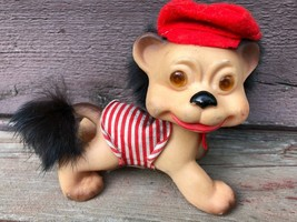 "Vintage 1960's Japan Loveable Uglies Troll LION Doll 5 1/2"" w Red Hat Ou... - $29.65"