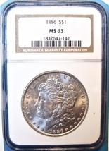 1886 NGC Morgan Silver Dollar. MS63. MG11. - $74.00