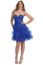 Sexy Strapless Beaded Bodice Ruffled Skirt Short Prom Party Missy Formal Dress - $84.99