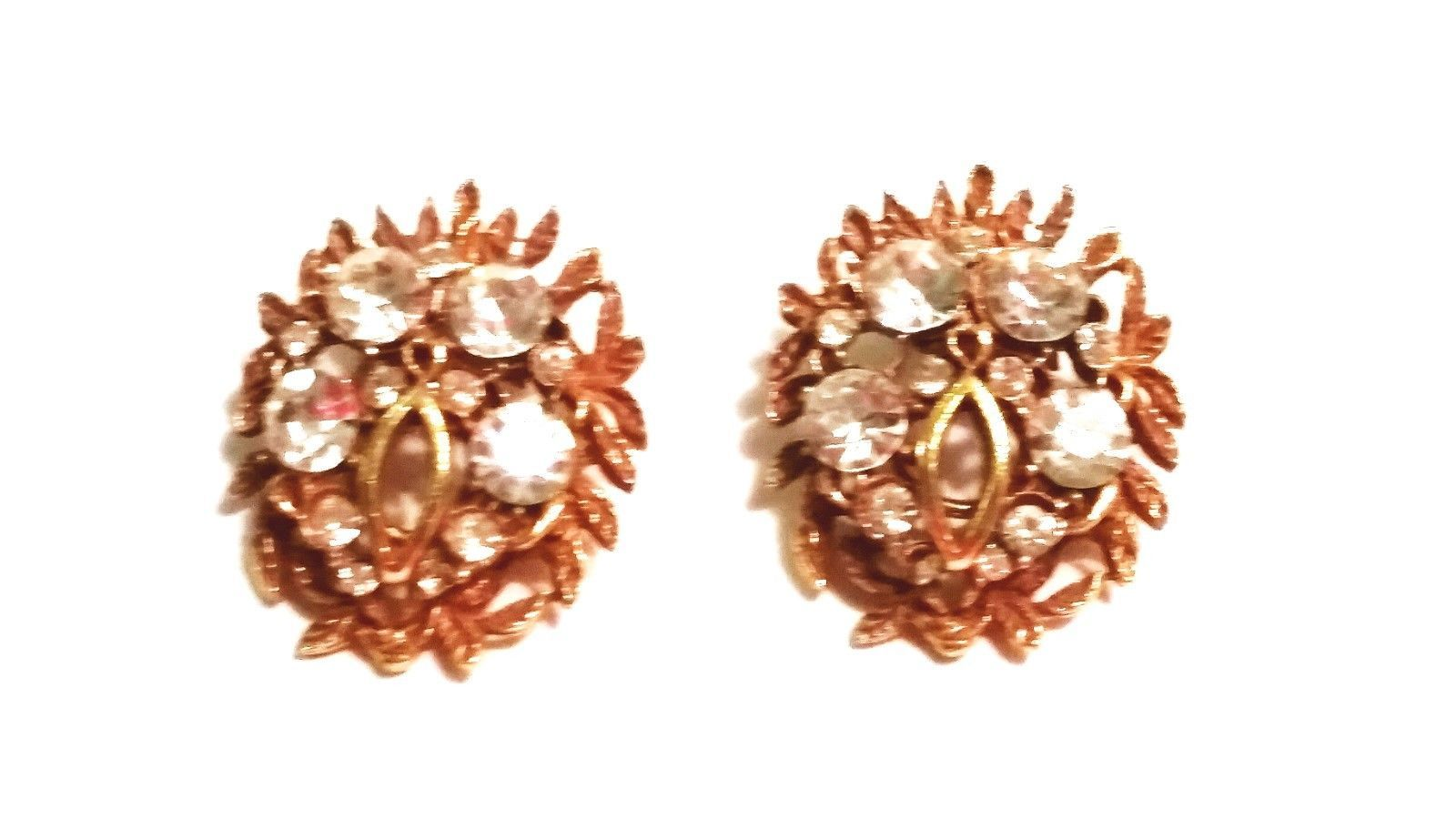 BSK Gold Tone and Rhinestone Earrings Vintage
