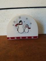 Royal Seasons Snowman Scarf Red Snowflake Rim Christmas Holiday Napkin H... - $14.84