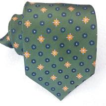 Wide Necktie green Jacquard 100% silk Made in Italy business wedding men... - $40.00