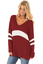 White Strip Red V Neck Sweater  - $27.31
