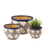 Geo Print Ceramic 3PC Planter Pot Set - $45.06