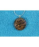 Elegant Glass Cabochon Pendant Necklace+ Silver Chain #EM076 - $6.92