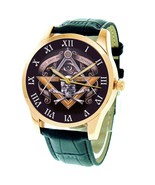 SPECTACULAR VINTAGE SYMBOLIC SKULL ART MASONIC COLLECTIBLE 24K GOLD-WASH... - $119.99