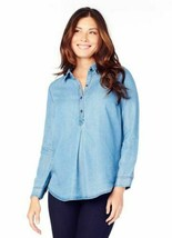NWT Ingrid & Isabel Maternity Long Sleeve Pleated Shirt, Chambray Blue T... - $13.99