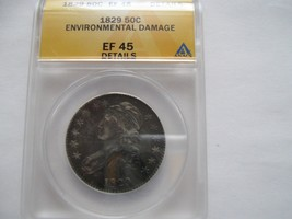 Capped Bust Half Dollar , 1829 , EF 45 , Environmental Damage , Anacs Ce... - $295.00
