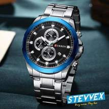 Metallic Men's Curren Waterproof Chronometer Watch With Glossy Metallic Patterns - $64.99