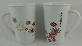 2 Starbucks Mugs Lot XMAS Floral Star 12 Oz Spell Out Red Burgandy White Vtg EVC - $19.95