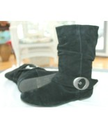 Dr Scholls Size 10 M Black Flat Slouch Genuine Suede Hobo Boots Shoes - $24.75