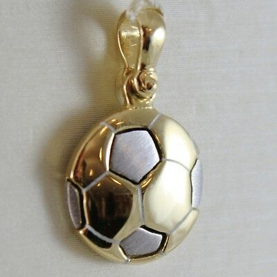 SOLID 18K WHITE & YELLOW GOLD SOCCER BALL PENDANT, SATIN CHARMS, MADE IN ITALY