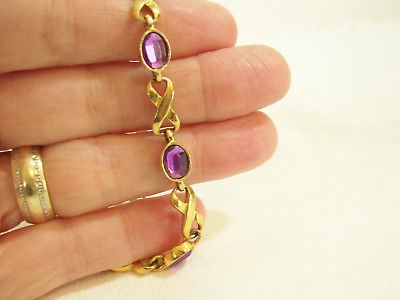 "AVON INFINITY OVAL AMETHYST PURPLE FACETED STONE GOLD PLATE BRACELET 8"" VINTAGE"